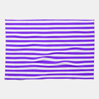 Bright Indigo, Violet, Purple & White Stripes Towels