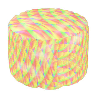 Bright Interference Round Pouf