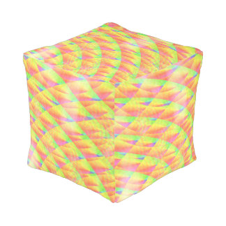 Bright Interference Cube Pouf