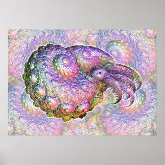 Bright Iridescent Fractal Nautilus Composite Art Poster