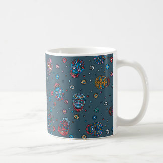 Bright jeans blue mexican floral skull pattern coffee mug