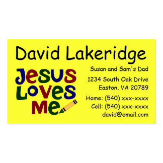 Bright Jesus Loves Me Daddy Contact  Info Card