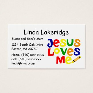 Bright Jesus Loves Me Mommy Contact  Info Card