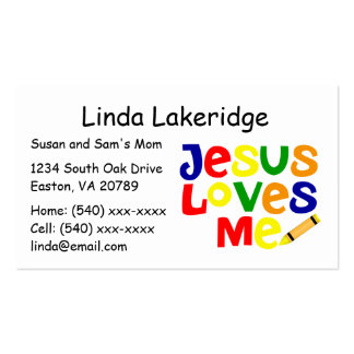 Bright Jesus Loves Me Mommy Contact  Info Card Double-Sided Standard Business Cards (Pack Of 100)