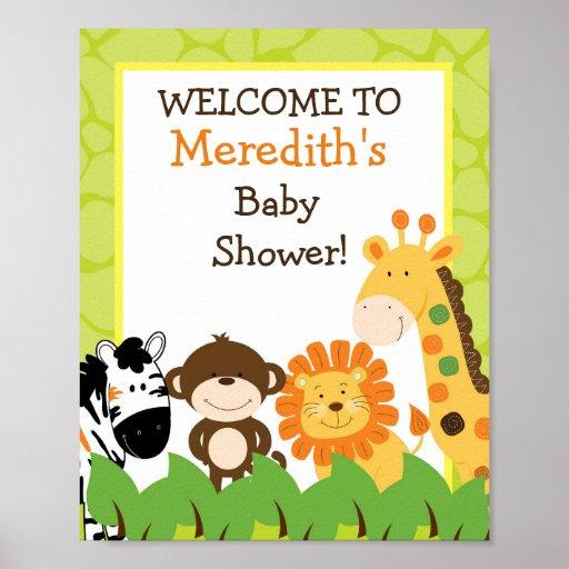 Bright Jungle Safari Animals 8x10 Sign Poster