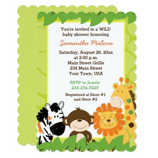 Bright Jungle Safari Animals Baby Shower Invite