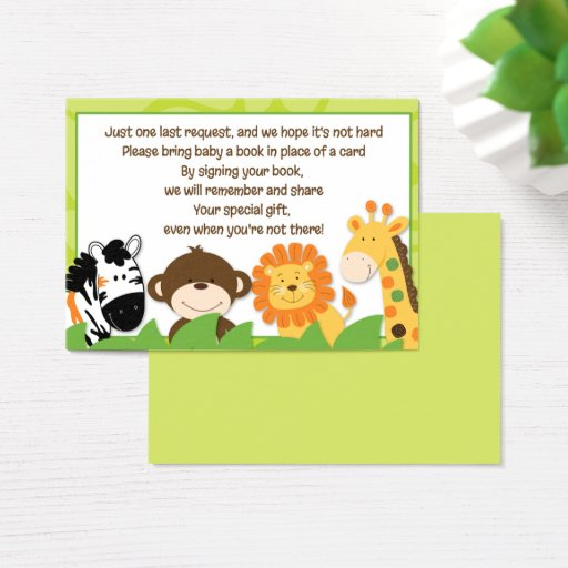 Bright Jungle Safari Animals Book Request Cards