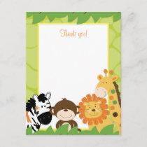 Bright Jungle Safari Animals Flat Thank you card