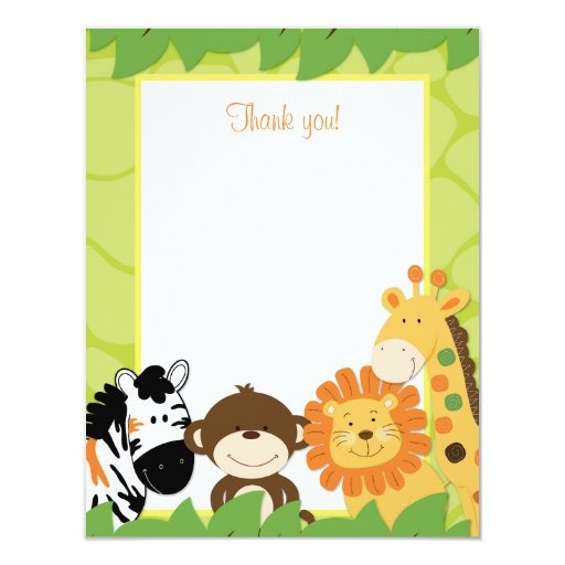 Bright Jungle Safari Animals Flat Thank you card