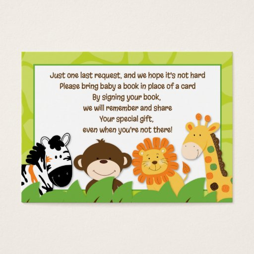 Bright Jungle Safari Enclosure Book Request Cards