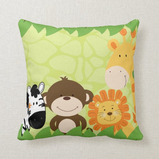 Bright Jungle Safari Pillow
