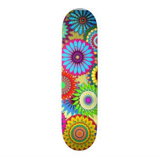 bright kaleidoscope rainbow color retro skateboard