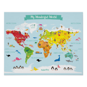 Bright Kids World Map With Ilrations Poster