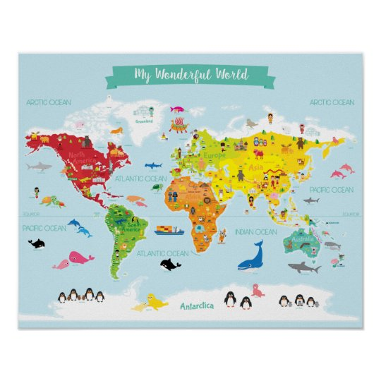 Bright Kids World Map With Illustrations Poster
