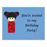 "Bright Kokeshi Birthday Invitation 4.25"" X 5.5"" Invitation Card"