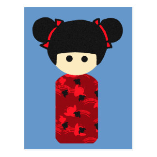 Bright Kokeshi Postcard