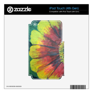 Bright large flower design skin for iPod touch 4G