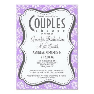 Bright Lavender Paisley Personalized Invite