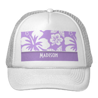 Bright Lavender Tropical Hibiscus; Personalized Trucker Hat