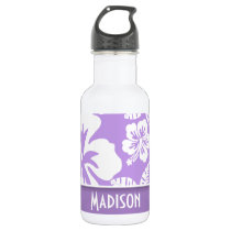 Bright Lavender Tropical Hibiscus; Personalized Stainless Steel Water Bottle
