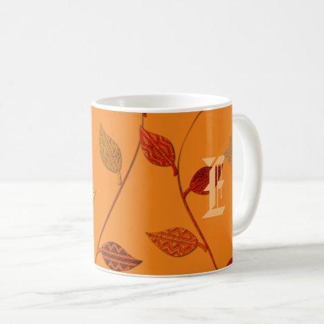 Bright Leaves Monogrammed Mug