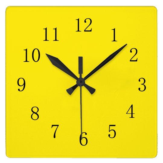 Bright Lemon Yellow Square Wall Clock   Zazzle.com