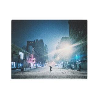 Bright Light On A Winter Night Metal Photo Print