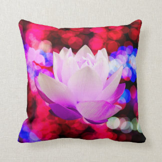 Bright light with lotus flower throw pillow
