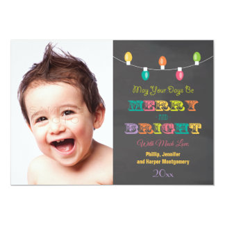 Bright LIghts Chalkboard Holiday Photo Card Custom Announcement