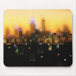 bright lights city sunset mouse pad