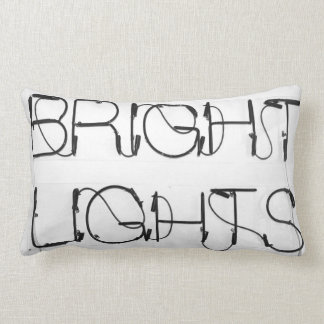 Bright lights neon sign black and white pillow