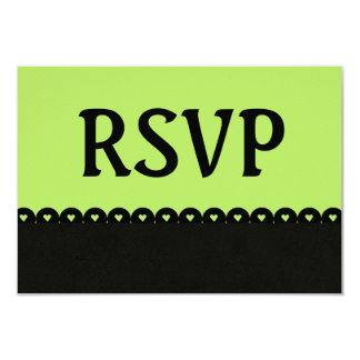 Bright Lime Black RSVP Hearts Scalloped Lace V07 Card