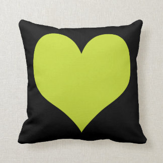 Bright Lime Green and Black Hearts Pillows