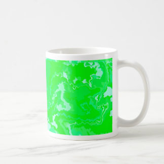 Bright Lime Green and Blue Squiggle Design Coffee Mug