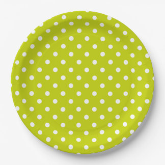 Bright Lime Green and White Polka Dot Paper Plate