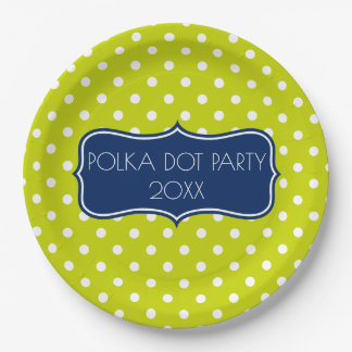 Bright Lime Green and White Polka Dot Personalized Paper Plate