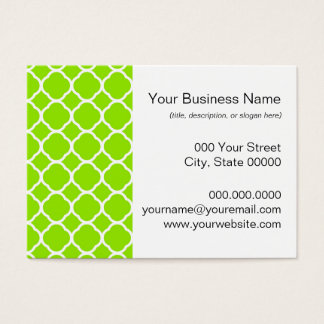Bright Lime Green and White Quatrefoil Pattern Business Card