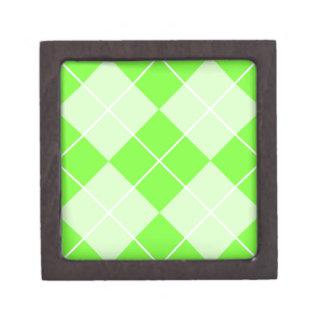 Bright Lime Green Argyle Jewelry Box