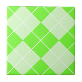 Bright Lime Green Argyle Tile