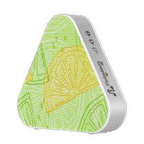 Bright lime green citrus lemons pattern bluetooth speaker