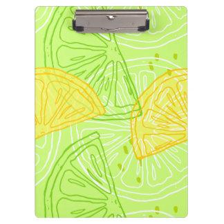 Bright lime green citrus lemons pattern clipboard