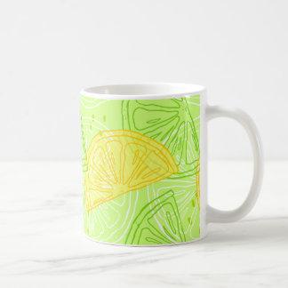 Bright lime green citrus lemons pattern coffee mug
