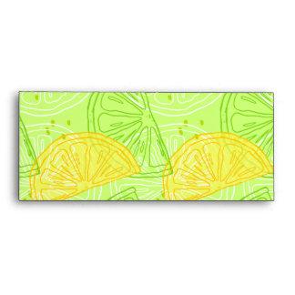 Bright lime green citrus lemons pattern envelope