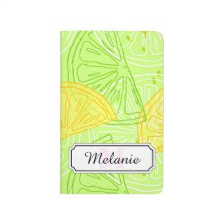 Bright lime green citrus lemons pattern journal