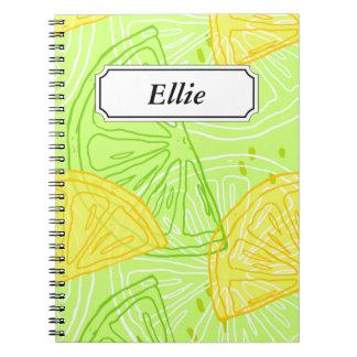 Bright lime green citrus lemons pattern notebook