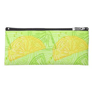 Bright lime green citrus lemons pattern pencil case