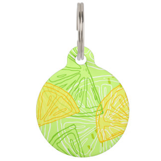 Bright lime green citrus lemons pattern pet tag