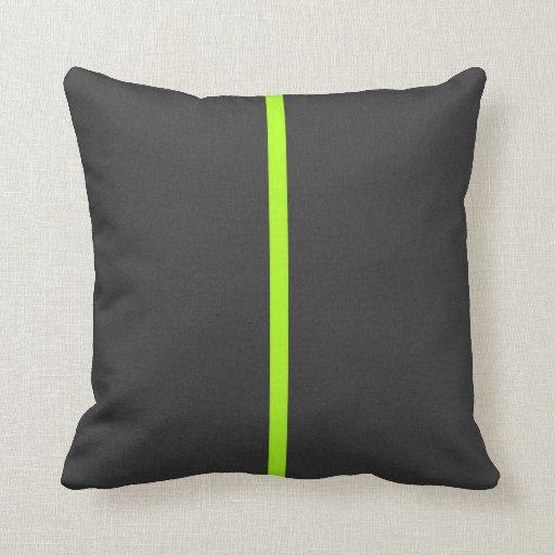 Bright Lime Green Dark Gray Contemporary Stripe Throw Pillow