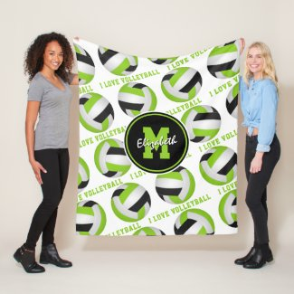 bright lime green I love volleyball text pattern Fleece Blanket