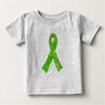 Bright Lime Green Jigsaw Puzzle Pattern Ribbon Baby T-Shirt